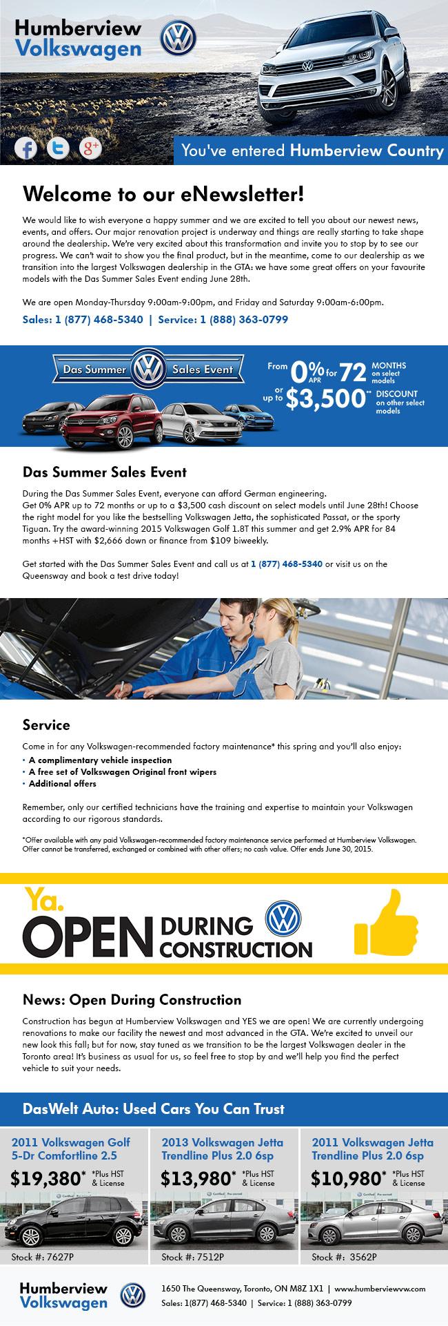 Humberview Volkswagen June Newsletter
