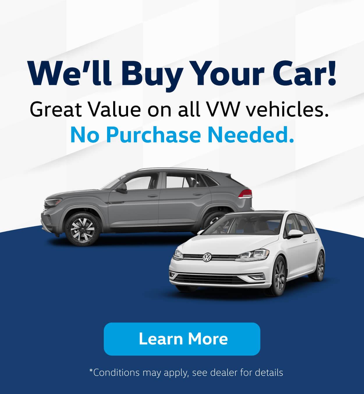 We will buy your car - Humberview Volkswagen